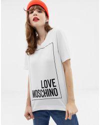Love Moschino T-shirt con logo classico - Bianco
