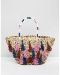 Vincent Pradier - Multi Tassel Structured Straw Beach Bag - Lyst