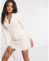 Lavish Alice Satin Corset Blazer Mini Dress - Brown