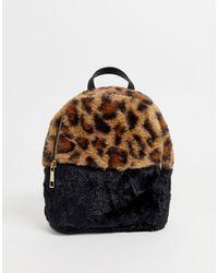 Chateau Petit sac à dos en fausse fourrure léopard - Marron