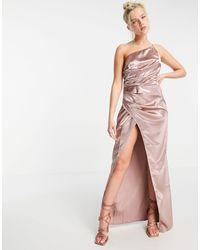 Little Mistress Vestito lungo monospalla drappeggiato - Grigio