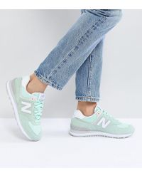 New Balance - 574 Suede Trainers In Mint - Lyst