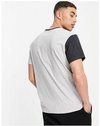 Threadbare Camiseta gris carbón con diseño partido - Negro