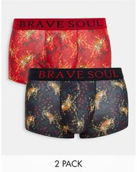 Brave Soul 2 Pack Boxers - Red