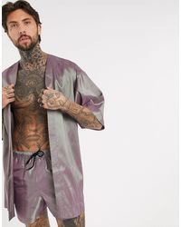 ASOS – Kimono aus schimmerndem Material, Kombiteil - Lila