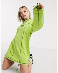The Ragged Priest Oversized T-shirt Dress With Contrast Overlocking And Front Logo - Green