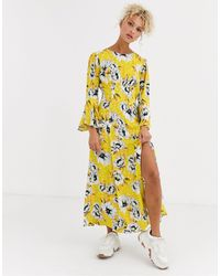 Ghost Luisa Floral Midi Dress - Yellow