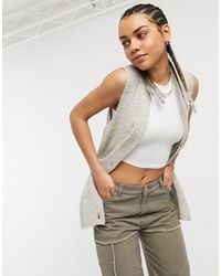 Noisy May Knitted Vest With Button Up Detail - Grey