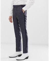 ASOS Pantalones ajustados de esmoquin de graduación en azul marino con diseño de rombos de jacquard