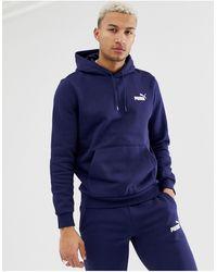PUMA Essentials - Felpa con cappuccio e logo piccolo blu navy