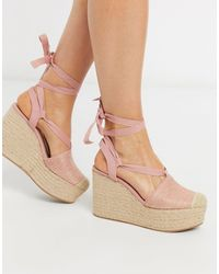 Stradivarius Lace Up Wedge - Pink