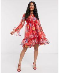 John Zack Красное Платье Мини Из Органзы С Пышными Рукавами И Цветочным Принтом -красный