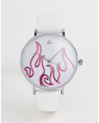 ASOS - Watch With Neon Flame In White - Lyst