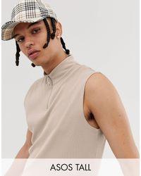 ASOS Tall - Top senza maniche dolcevita beige a coste con zip - Neutro