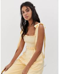 Capulet Blaire Shirred Crop Top - Yellow