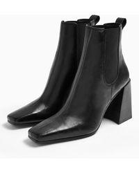 TOPSHOP Flared Heel Chelsea Boot - Black