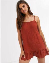 Rhythm Темно-красное Пляжное Платье Sundown-оранжевый - Красный