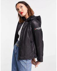 Love Moschino – jacke aus neopren mit kapuze - Schwarz
