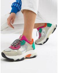 Bronx - Multi Brights Metallic Suede Chunky Sneakers - Lyst