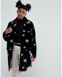 Noose And Monkey Embroidered Velvet Duster Coat - Black
