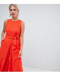 Oasis Mono largo estilo falda pantaln anudado en la parte delantera de - Naranja