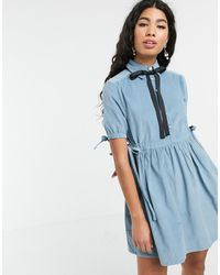 Sister Jane - Mini Smock Dress With Tie Sides And Pussybow In Baby Cord - Lyst