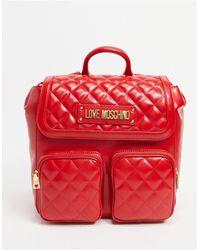 Love Moschino Красный Стеганый Рюкзак С Двумя Карманами
