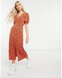 Oasis - Оранжевое Платье Миди С Присборенными Манжетами И Звериным Принтом -многоцветный - Lyst