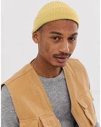 ASOS Petit bonnet de pêcheur en maille côtelée épaisse - Jaune pâle - Multicolore