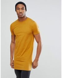 ASOS - Design Super Longline T-shirt In Tan - Lyst