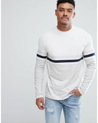 ASOS - Relaxed Long Sleeve Raglan T-shirt With Colour Block In Interest Nepp Fabric - Lyst