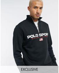 Polo Ralph Lauren Sport - Exclusief Bij Asos - Sweatshirt Met Korte Rits En Logo Op - Zwart