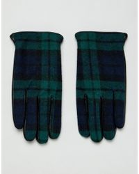 ASOS Touchscreen-Handschuhe aus schwarzem Leder mit Karomuster
