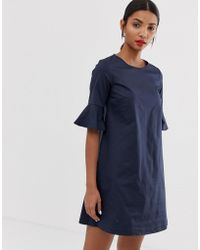 MAX&Co. - Cotton Shift Dress With Fluted Sleeve - Lyst