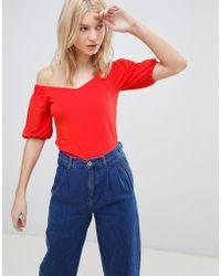 Vero Moda - Off Shoulder Top With Full Sleeve - Lyst