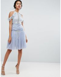 ASOS Tulle Prom Skirt With Deep Basque - Blue