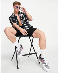 Calvin Klein Многоцветная Рубашка С Короткими Рукавами, Цветочным Принтом И Отложным Воротником -разноцветный - Многоцветный