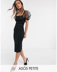 ASOS Asos Design Petite Jersey Pencil Midi Skirt - Black