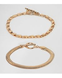 ASOS - Asos Design Curve Pack Of 2 Bracelets With Heavyweight Chain And Flat Rope Chain Gold - Lyst