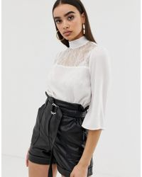 Fashion Union - High Neck Top With Lace Panel - Lyst