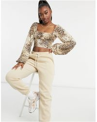 Motel Milk Maid Crop Top With Ruched Bust - Natural