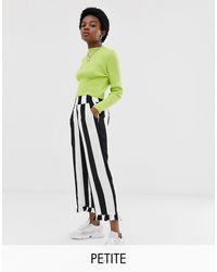 Collusion Petite - Pantalon à larges rayures avec ourlet à volants - Multicolore