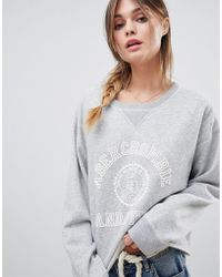 Abercrombie & Fitch Varsity Logo Crew Neck Sweatshirt - Gray