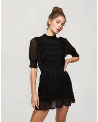Miss Selfridge Mini Dress With Lace Detail - Black