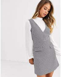 Miss Selfridge - Pinafore Dress With Blouse Insert - Lyst