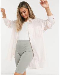 Monki Lindy Organic Cotton Oversize Shirt - Pink