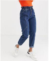 River Island – Jeans mit gekräuselter Taille und Knöpfen - Blau