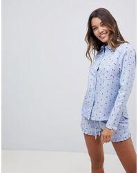 Hunkemöller Rebellious Longsleeve Night Lips Shirt - Blue