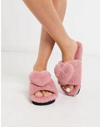 Monki Розовые Слиперы Из Искусственного Меха -розовый