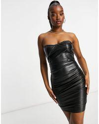 Naanaa Bandeau Pu Mini Dress - Black